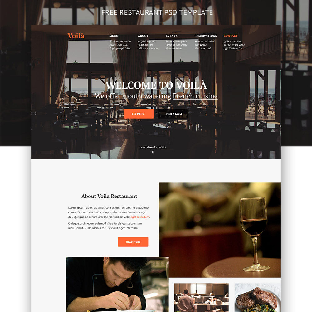 Simple Restaurant Website Template Free PSD