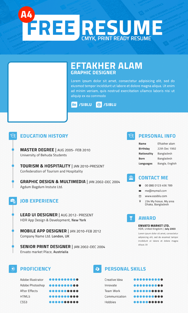 download simple professional resume template psd file download psd