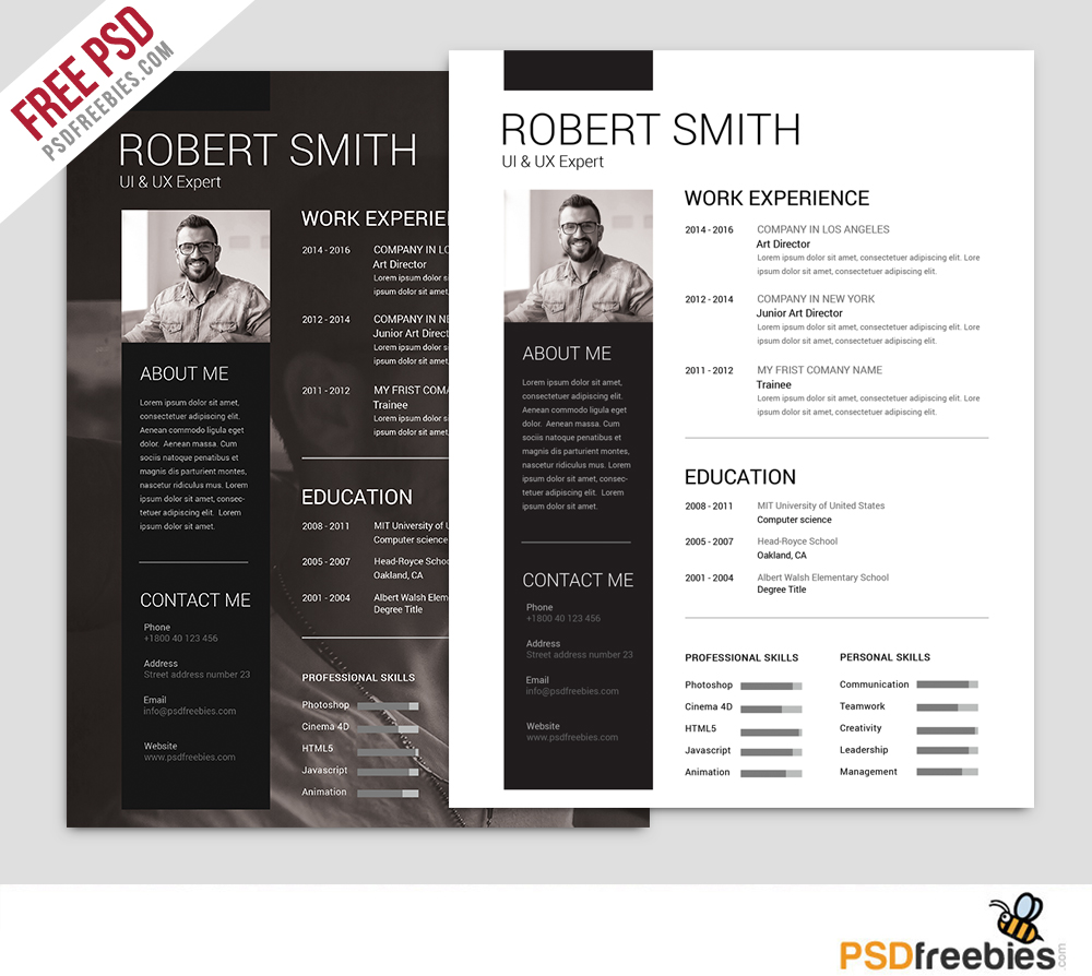 25 best free resume cv templates psd work white web designer visiting card ux - Templates Resume Free