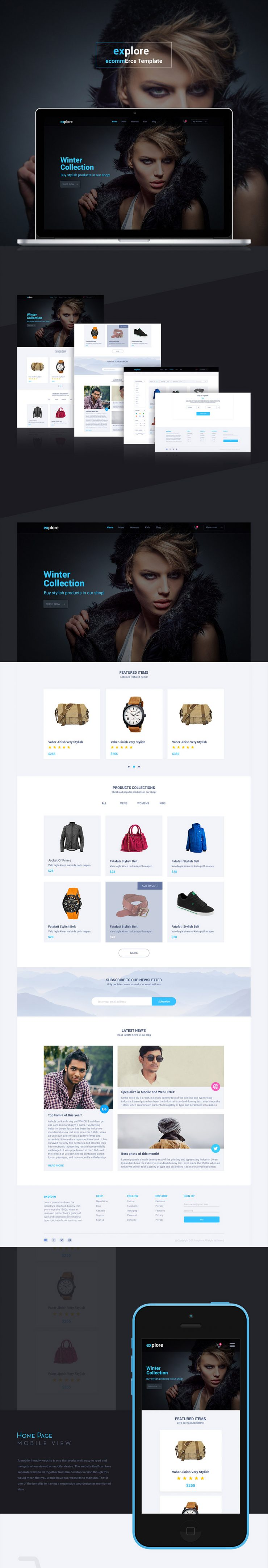 Simple eCommerce Website Templates Free PSD Set