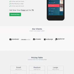 Single Page Flat Website Template Design PSD