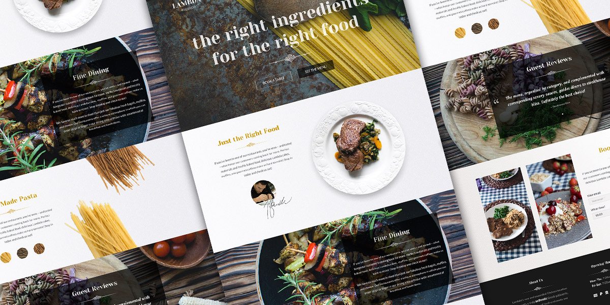 Single page restaurant website template psd download