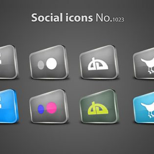 Sleek Glossy Social Icons PSD