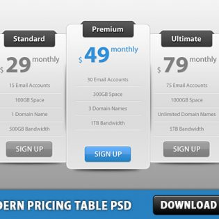 Slick Modern Pricing Table PSD