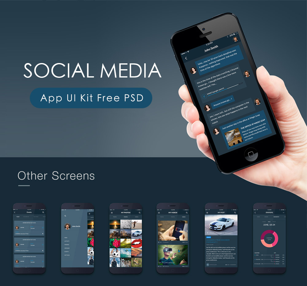 social media app ui kit free psd download download psd. Black Bedroom Furniture Sets. Home Design Ideas