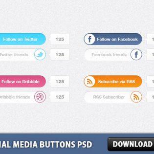 Social Media Buttons PSD