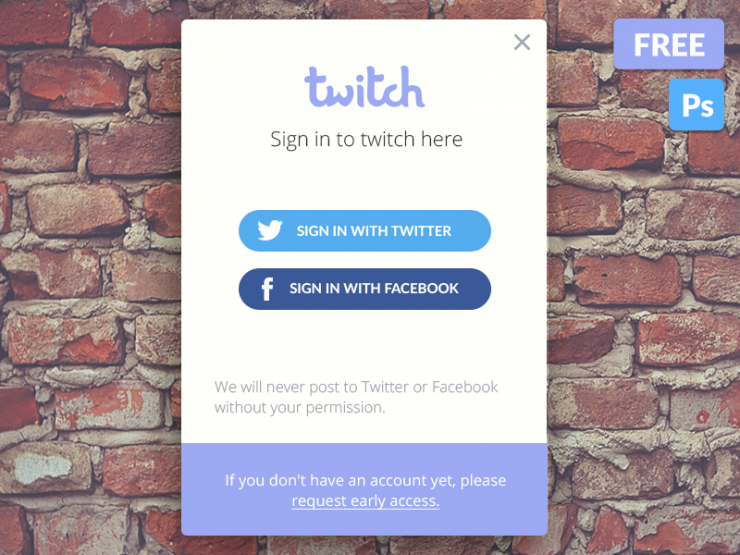 Social Media Login Widget PSD Freebie widget White Web Resources Web Elements Web Design Elements Web User Interface User unique ui set ui kit UI elements UI Twitter Stylish Social SignUp Screen Resources Quality purple PSD pack original new Modern material Login logged in Interface GUI Set GUI kit GUI Graphical User Interface Fresh Freebie Free PSD Flat FB Facebook Elements Download detailed Design Resources Design Elements Design Creative Clean Application App access