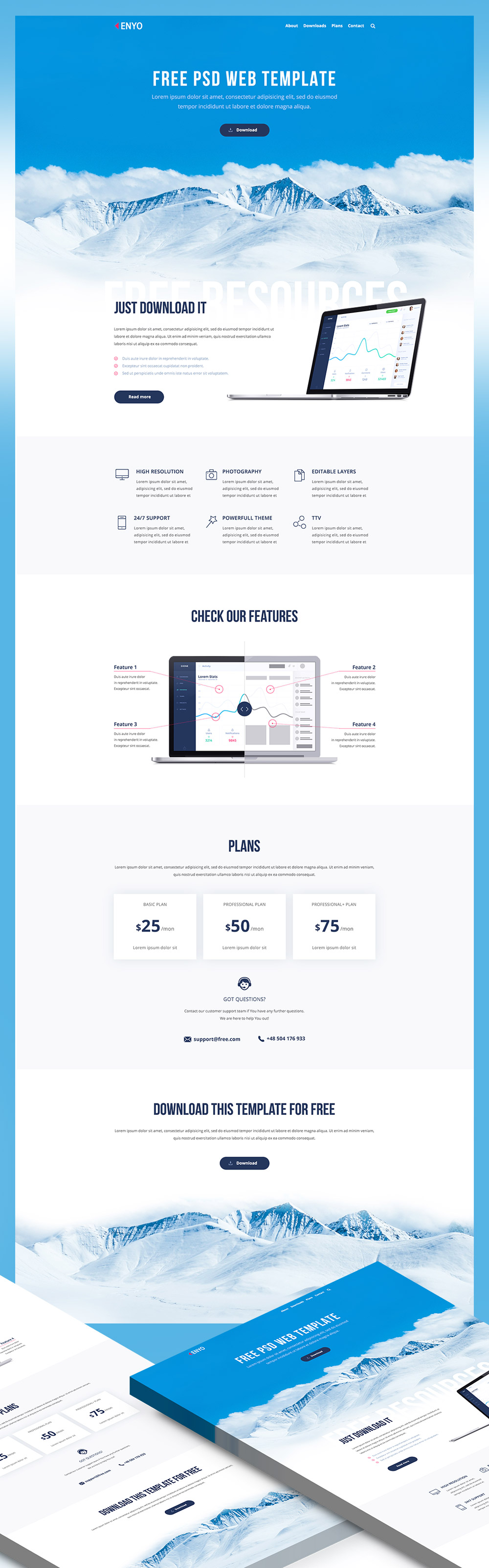 High quality 50 free corporate and business web templates psd software company website landing page psd freebie cheaphphosting Images