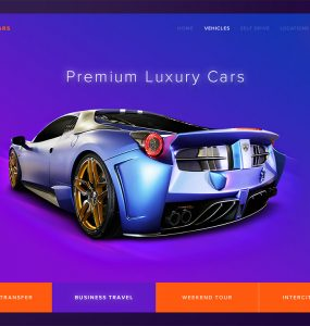 Sports Car Landing Page Header Free PSD