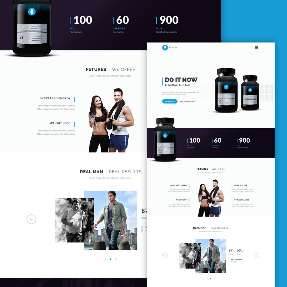 supplement product landing page free psd download