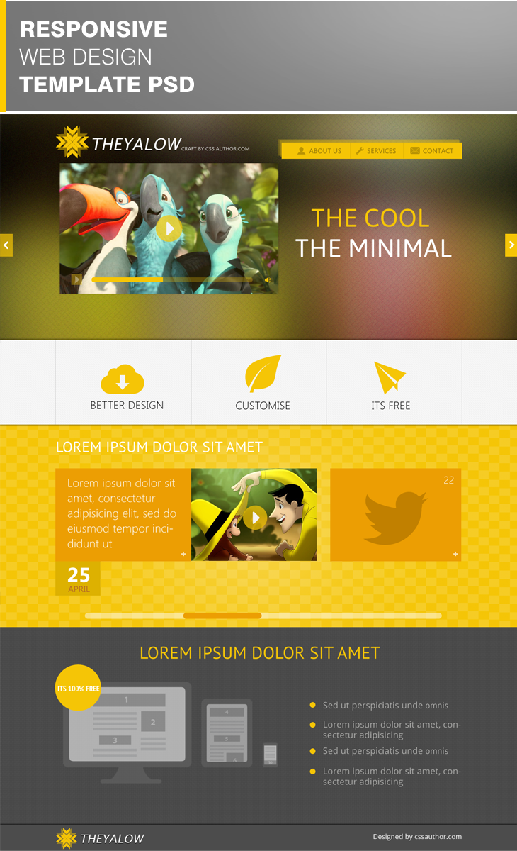 Theyalow responsive web design template psd download psd for Free responsive website templates