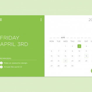 Task Calendar Widget Free PSD
