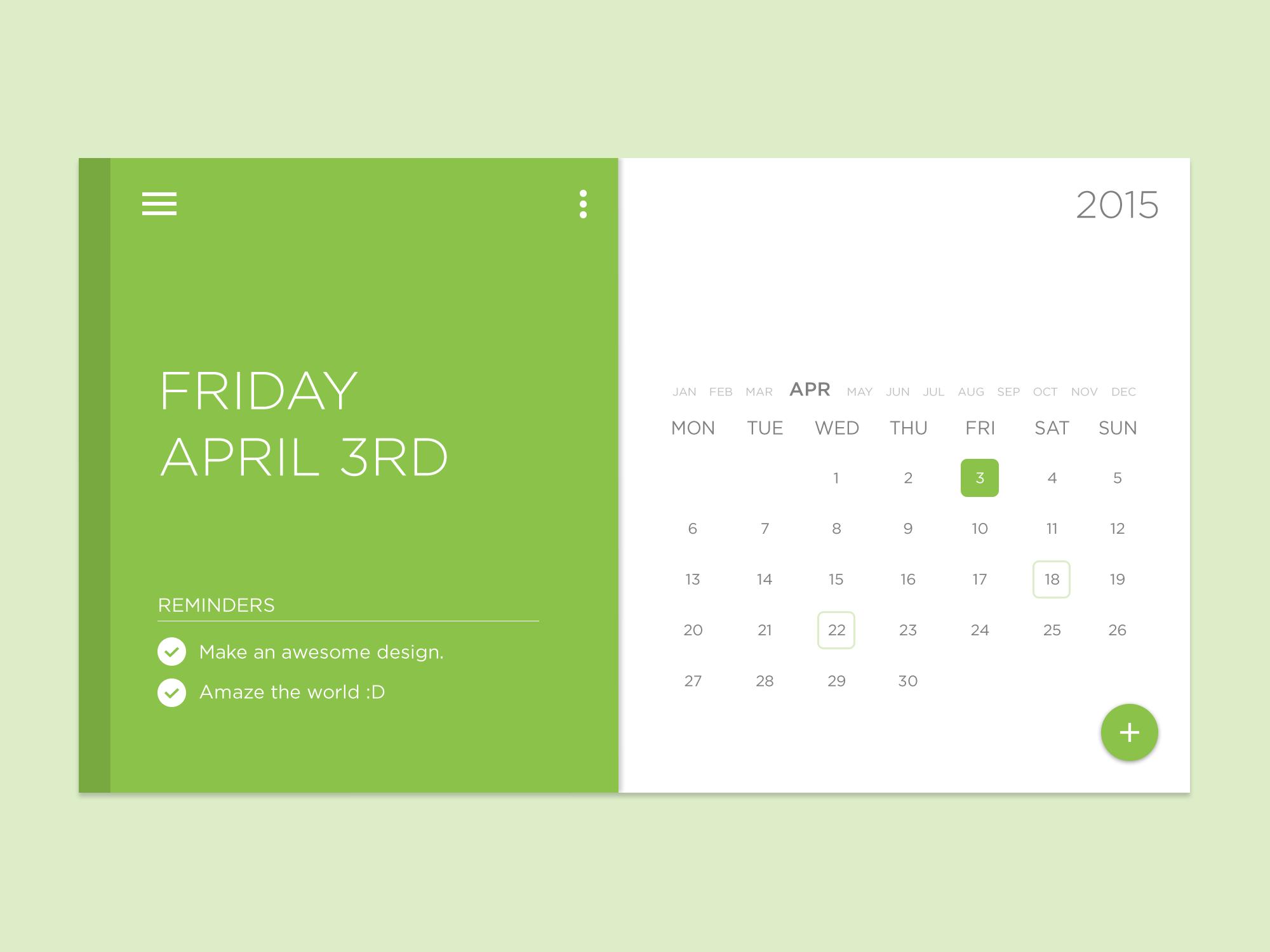 Calendar Material Design Javascript : Task calendar widget free psd download
