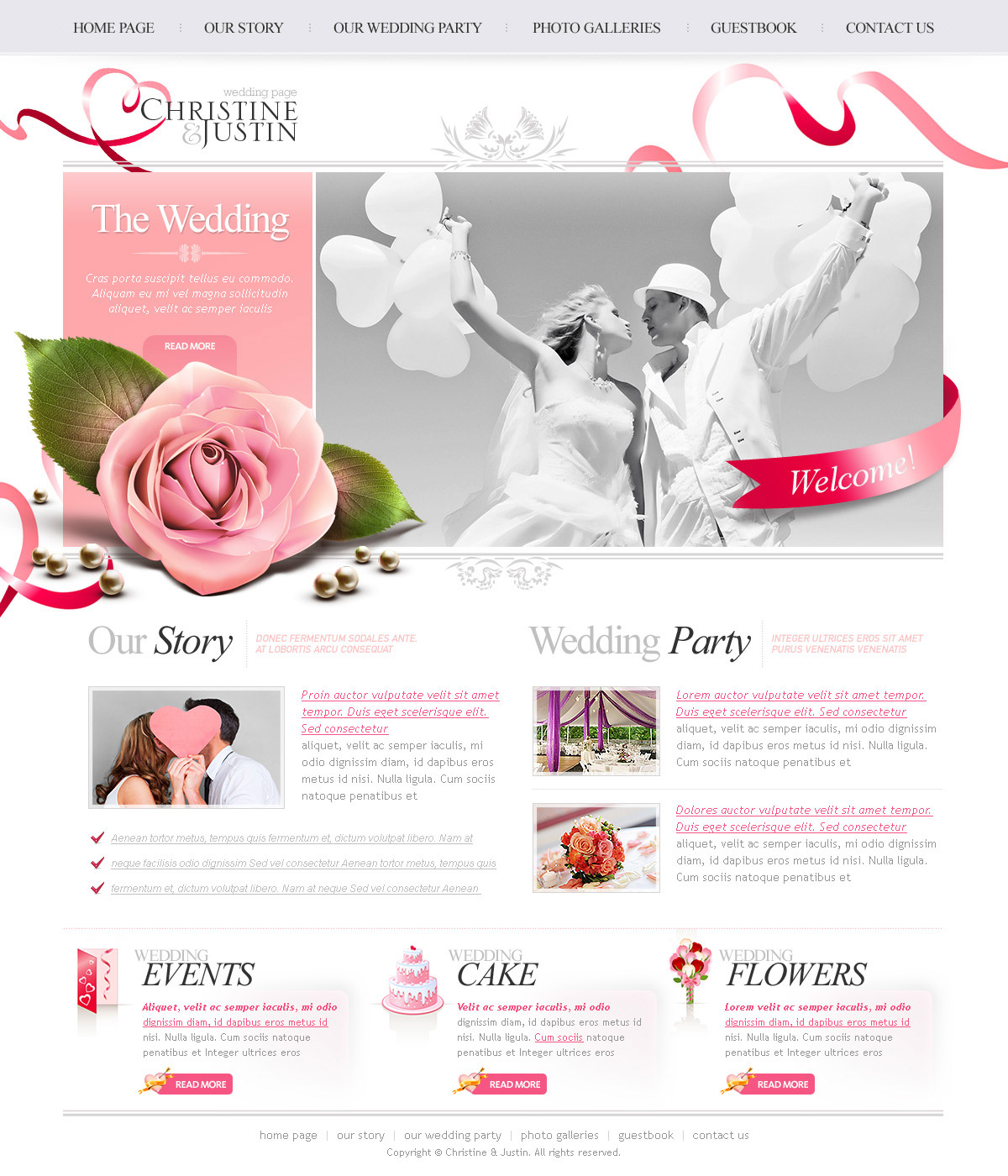 The Wedding Psd Website Free Template Www White