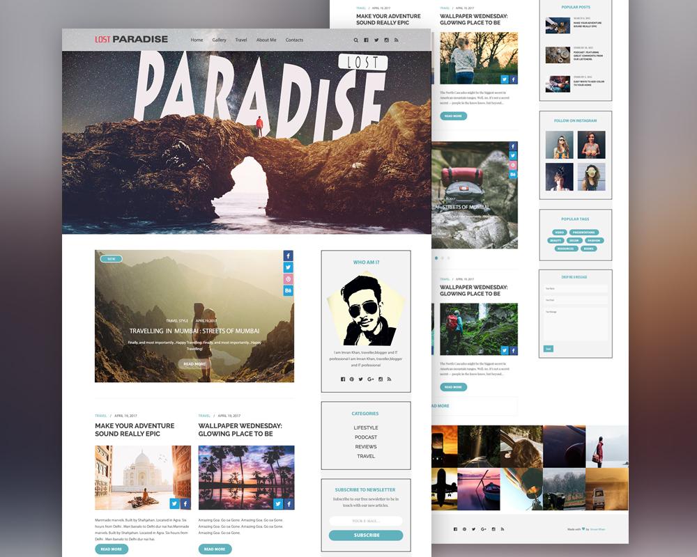 Travel Blog Template Free PSD
