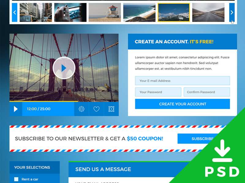 Traveling Website UI Kit PSD Freebie