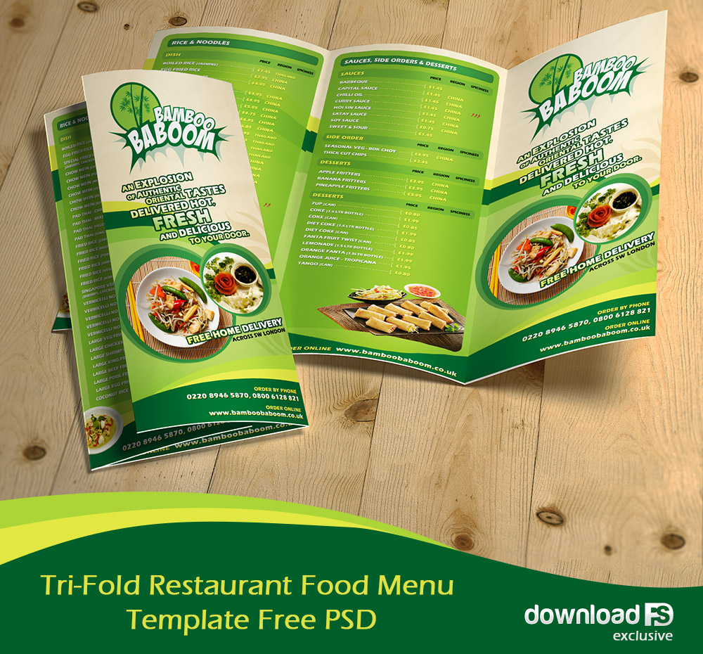 Tri-Fold Restaurant Food Menu Template Free PSD - Download PSD