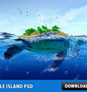 Turtle Island Free PSD File Water Turtle Tree Sky Psd Templates PSD Sources psd resources PSD images psd free download psd free PSD file psd download PSD Photo Manipulation Nature Layered PSDs Island Graphics Free PSD download psd download free psd
