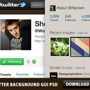 Twitter Background GUI Photoshop PSD