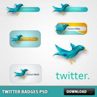 Twitter Badges Free PSD