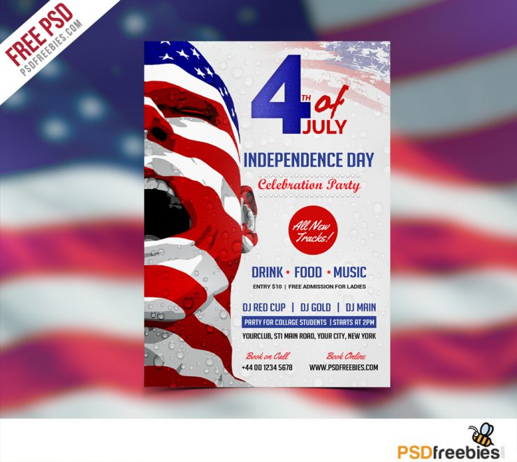 USA Independence Day Flyer Template Free PSD Download