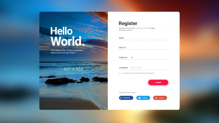 User Login Register Screen Free PSD