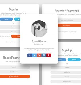 User Login and Sign up UI Kit Free PSD