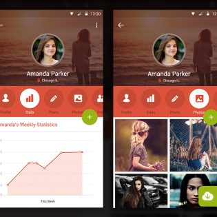 User Profile Mobile Application Screens PSD