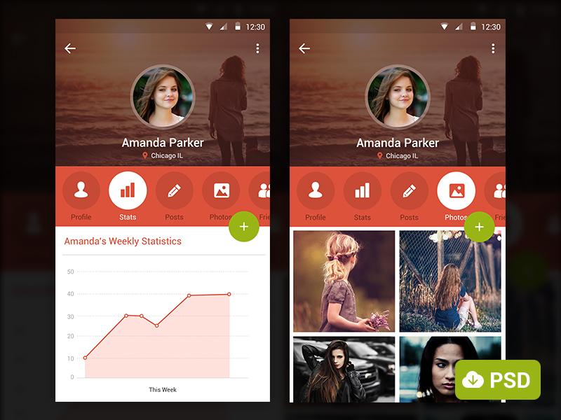 User Profile Mobile Application Screens PSD
