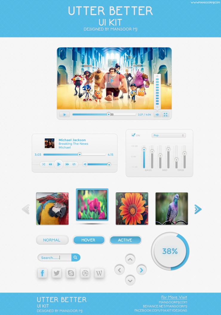Utter Butter Web UI Elements Kit PSD Web Resources, Web Elements, Web Design Elements, Web, video player skin, Video Player, Video, utter button, utter butter ui kit, User Interface, uploader, ui set, ui kit, UI elements, UI, thumbnail slider, Social Media Icons, Social Icons, Skin, set blue, search buttons, Resources, PSD file, PSD, Preloader, Player, Music Player, Loader, Light, Layered PSDs, Layered PSD, Interface, GUI Set, GUI kit, GUI, Graphics, Graphical User Interface, Freebies, Free Resources, Free PSD, free download, Free, equalizer, Elements, Download, Design Resources, Design Elements, Buttons,