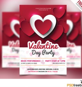 Valentine Day Party Flyer Free PSD