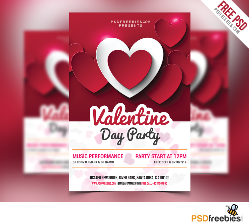 valentine day party flyer free psd white vip vday valentines party valentines flyer valentines day party - Valentine Poster