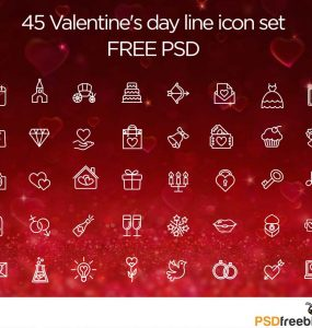 45 Valentine Day line icon Set Free PSD