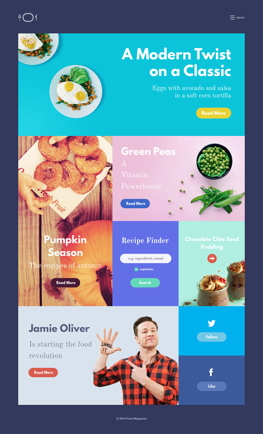 Vibrant Food Magazine Website Free PSD Layout