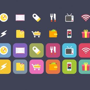 Vibrant iOS food Theme Shopping Icons Set PSD