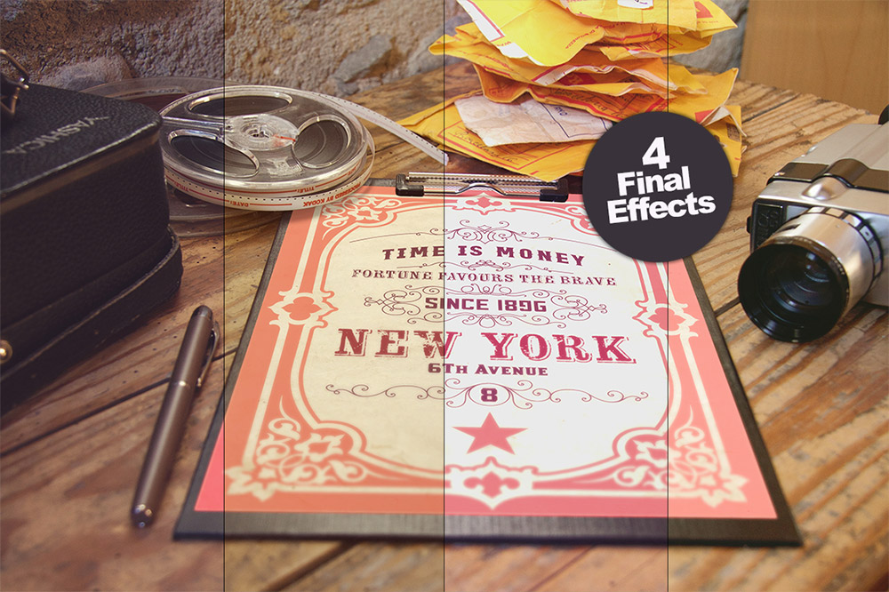 Vintage Style Poster Mockup Free PSD