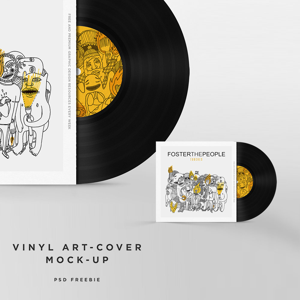 Vinyl Disc Cover Art Mockup Free PSD Template Download Download PSD – Psd Album Cover Template