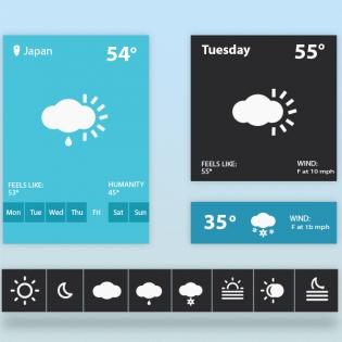 Weather Widget UI PSD freebie