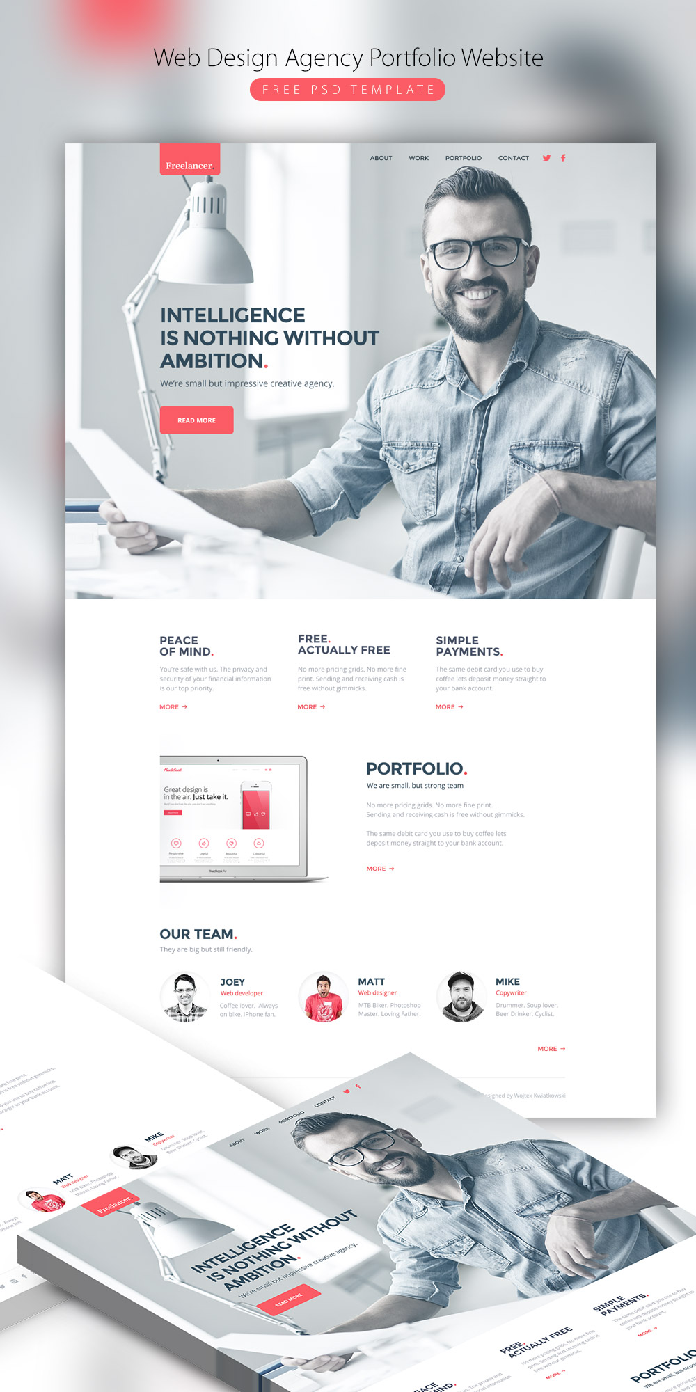 Web design agency portfolio website free psd template for Website layout design software free download