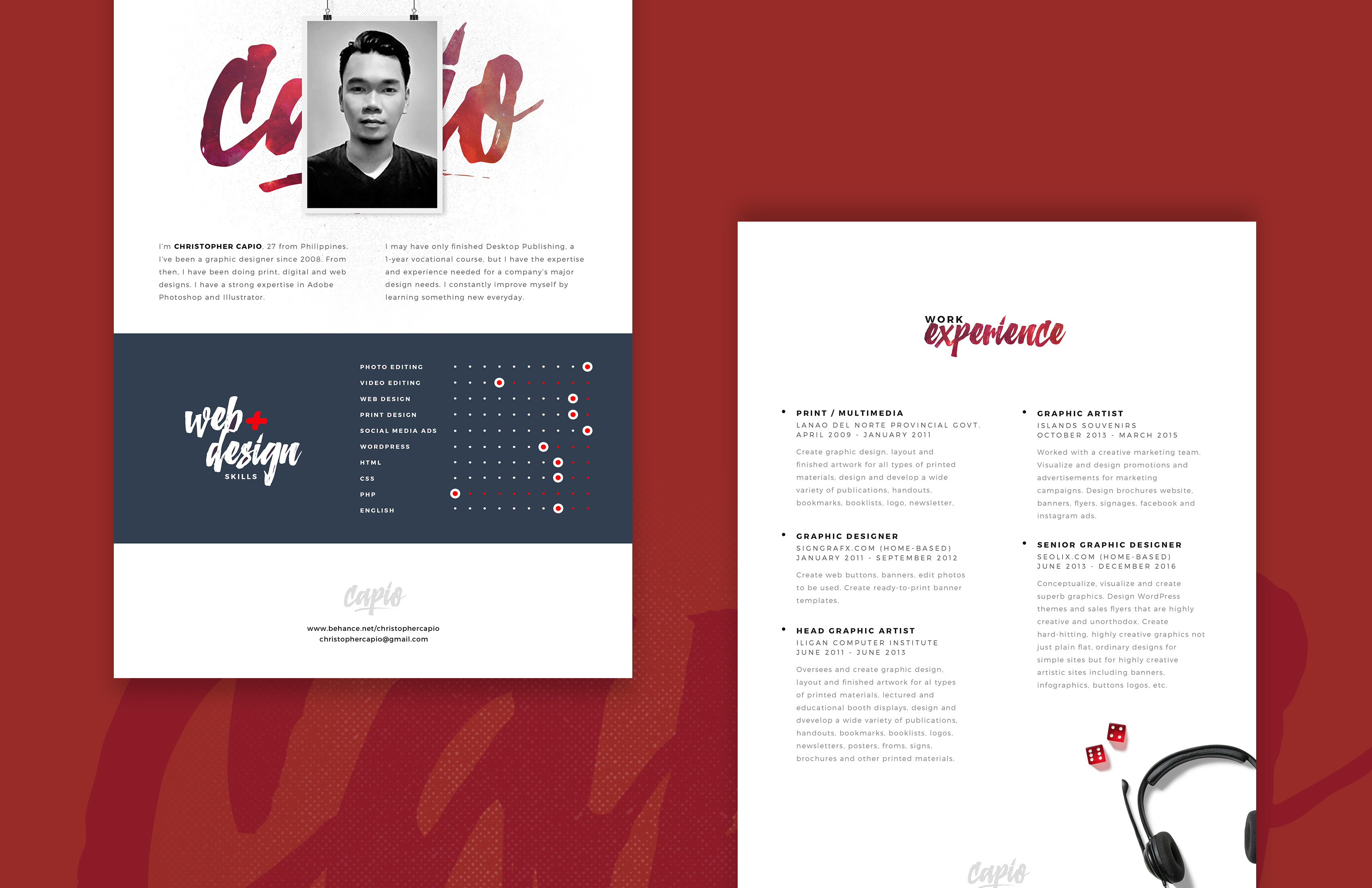 Download PSD  Resume Website Design