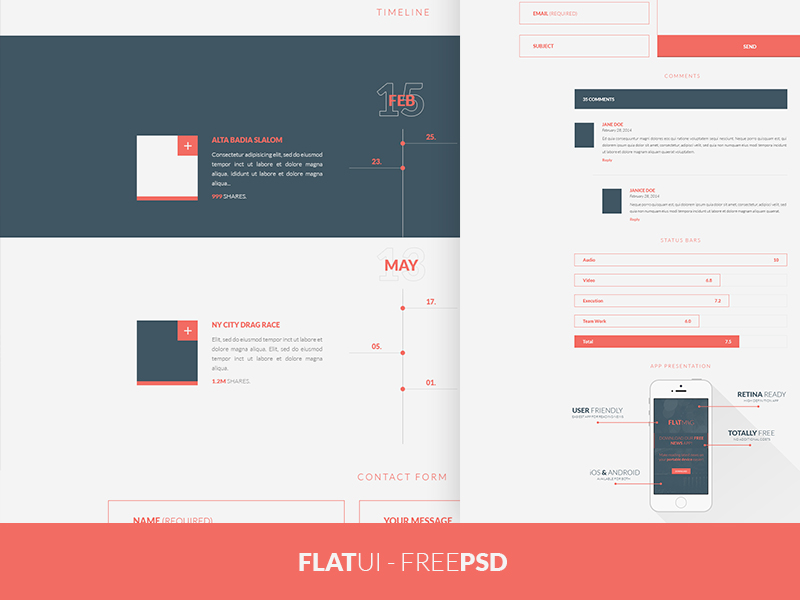 Web Flat UI Elements Kit PSD