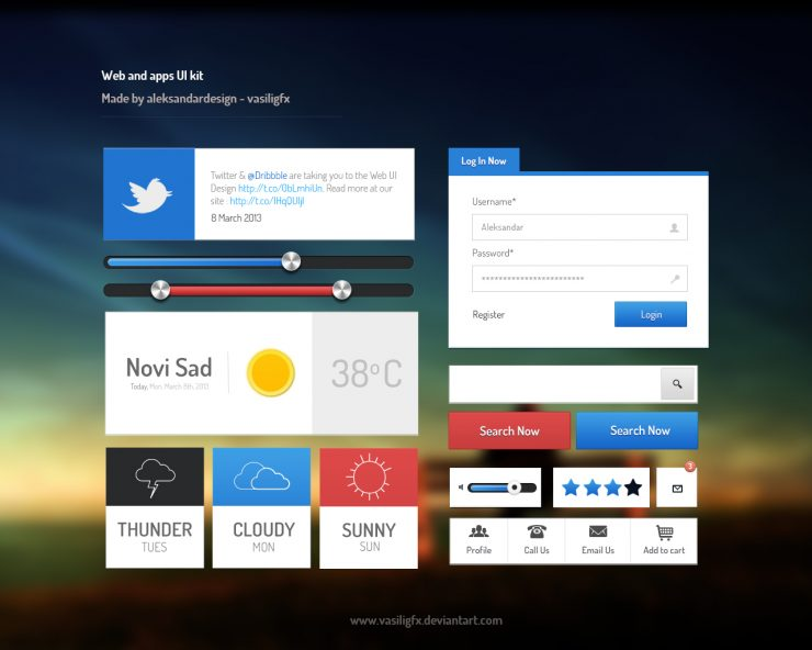 Web and App UI Kit PSD file Web Resources, Web Elements, Web Design Elements, Web, weather, Volume, User Login, User Interface, User, unique, ui set, ui kit, UI elements, UI, Twitter, Stylish, Sliders, Search, Resources, Rating, Quality, Psd Templates, PSD Sources, psd resources, PSD images, psd free download, psd free, PSD file, psd download, PSD, Photoshop, pack, original, Notification, new, Modern, Login, Layered PSDs, Layered PSD, Interface, GUI Set, GUI kit, GUI, Graphics, Graphical User Interface, Fresh, Freebies, Free Resources, Free PSD, free download, Free, flat ui psd, flat ui, Flat Design, Flat, Elements, download psd, download free psd, Download, detailed, Design Resources, Design Elements, Design, Creative, controller, Clean, call, Buttons, Adobe Photoshop,