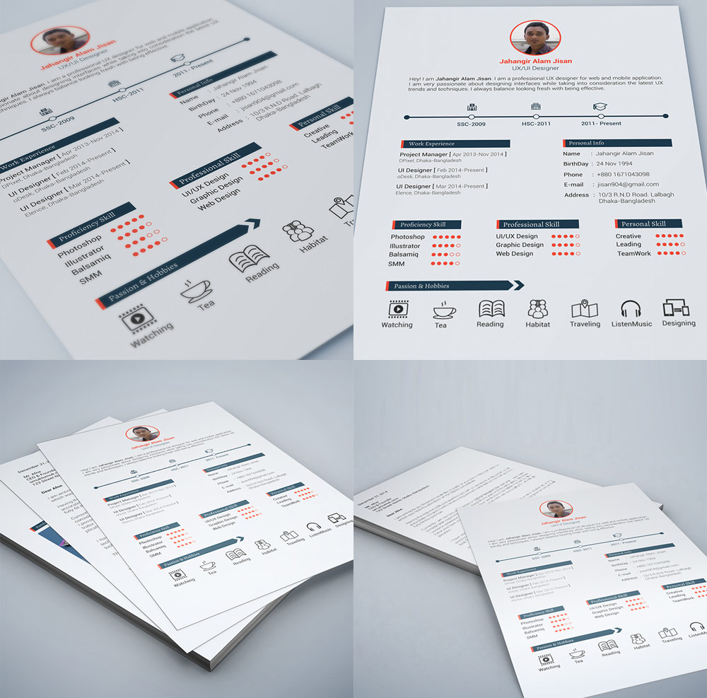 Web And Graphic Designer Resume Free PSD (Print Ready) Ux Designer, Unique,  Print Free Resume