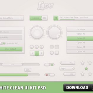 White Clean UI Kit Free PSD