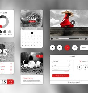 Widget Style Clean UI Kit Free PSD