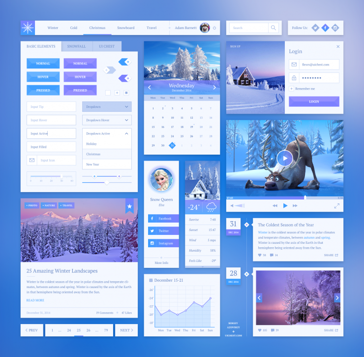 Winter Style UI Kit Free PSD Winter widget Web Resources Web Elements Web Design Elements Web weather Video User Interface User ui set ui kit UI elements UI Timeline Snow Resources psd kit Player Navigation Menu Login Interface Ice GUI Set GUI kit GUI Graphical User Interface Freebie Free PSD Elements Design Resources Design Elements Calendar Buttons Blue Blog