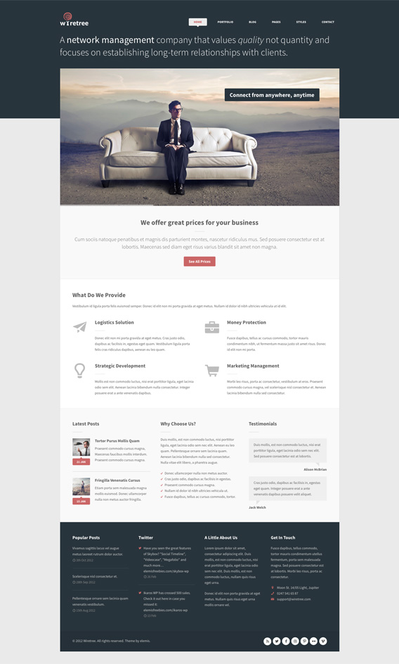 Wiretree Free Homepage PSD Template