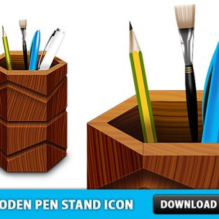 Free Wooden Pen Stand Icon PSD