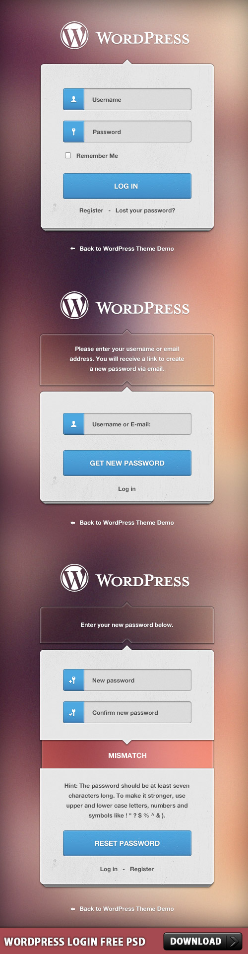WordPress Login Free PSD Download - Download PSD