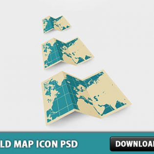 World Map Icon PSD